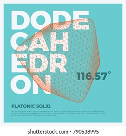 Typographic poster art with vector three-dimensional shape of polygonal dodecahedron. Abstract geometry illustration artwork for web design, template form, banner, presentation, brochure, cover.