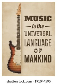 Typographic Poster with Electric Guitar - Music is the universal language of mankind