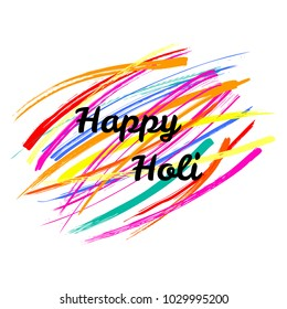 Typographic poster with quote Happy Holi on a background of colorful brush strokes. Isolated objects on white. Vector illustration. Design concept for festival of colors, party, celebration.