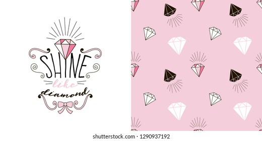 Typographic print with princess diamond lettering. Diamond seamless pattern. Pink colour. Perfect for baby girl fabric, textile, apparel, pyjamas, t-shirt print, Valentines Day design