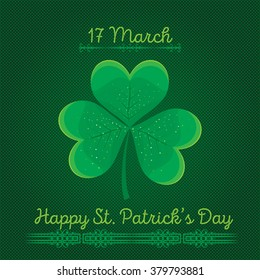 Typographic Saint Patrick's Day background. Vector design for greeting card, poster, flyer.