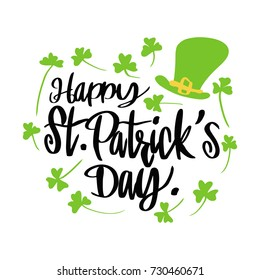 Typographic Saint Patrick's Day greeting card, Vector illustration.