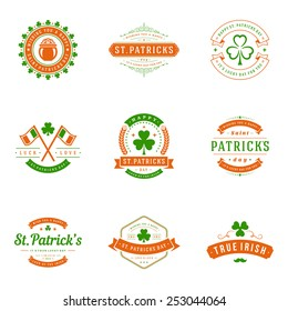 Typographic Saint Patrick's Day retro badges and labels. Vintage vector design elements for posters and greetings cards.