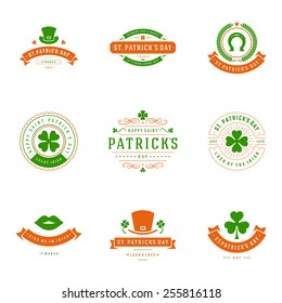 Typographic Saint Patrick's Day Retro Badges. Vintage Vector design elements, labels, t-shirts, posters, greetings cards and objects.