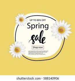 Typographic spring sale poster with camomille flowers.