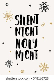 "Typographic style Christmas greeting card template with hand drawn snowflakes and text ""Silent Night, Holy Night""."