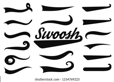 Typographic swash and swooshes tails. Retro swishes and swashes for athletic typography, logos, baseball font. Underlined text tails. Vector