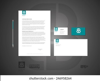 Typographic symbol. Elegant minimal style corporate identity template with logo. Letter envelope and business card design. Vector illustration.