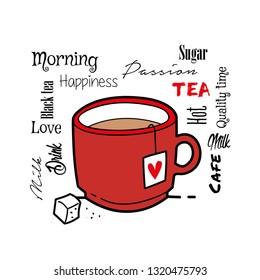 Typographic tea drink with tea bag cafe design