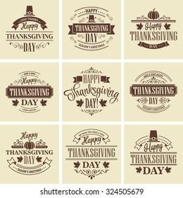 Typographic Thanksgiving Design Set. Vector illustration EPS 10