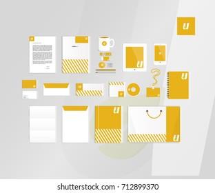 Typographic U logo. Corporate identity template set. Business stationery mock-up