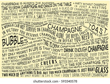 typographic vector background with sayings about champagne