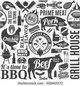 Typographic vector barbecue seamless pattern or background. BBQ, meat, vegetables, beer, wine and equipment icons