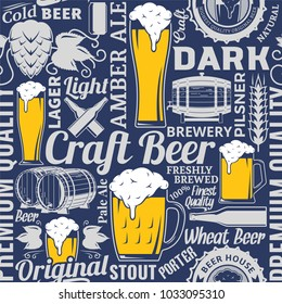 Typographic vector beer seamless pattern or background.