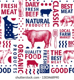 Typographic vector butchery seamless pattern. Graphical bull and cow silhouette, hand drawn vintage illustrations. Retro styled farm background, bannner template. Can be use for packaging and menu.