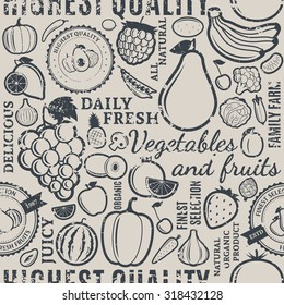 Typographic vector fruits and vegetables retro styled grungy seamless pattern or background