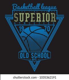 Typographic vector illustration of basketball theme badge. t shirt graphics