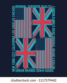 Typographic vector illustration of british and usa flag.t shirt graphics