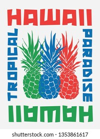 typographic vector illustration of pineapple , sumer  and hawaii theme. t shirt graphics