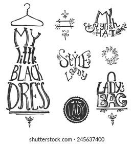 Typographic vintage composition: the little black dress, hat and bag