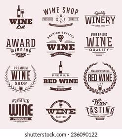 Typographic Wine Label Design Set - Vintage Style Emblems