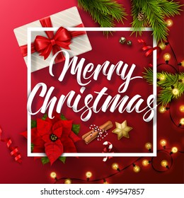 Typographical Background With Christmas Elements