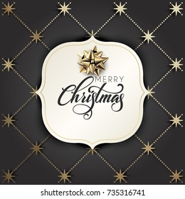 Typographical Background With Golden Christmas  Pattern