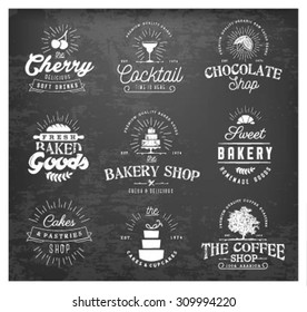 Typographical Bakery, Chocolate and Drinks Vintage Icons