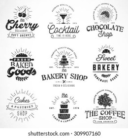 Typographical Bakery, Coffee, Chocolate and Drinks Design Elements