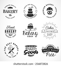 Typographical Bakery, Desserts and Cakes Design Elements on White Background