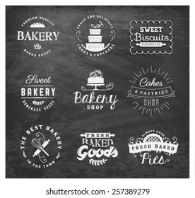 Typographical Bakery Labels, Badges and Design Elements on Chalkboard