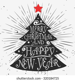 typographical greeting card christmas tree merry christmas and happy new year quote