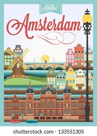 Typographical Retro Style Poster With Amsterdam Symbols And Landmarks