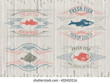 Typographical set of fish - vector. Logo, badge or label design template.