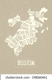 Typographical Stylized map of Boston city