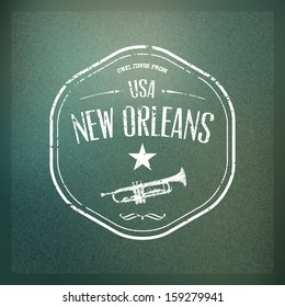 New orleans trumpet stock vectors images vector art shutterstock typographical touristic greeting card on blurry background greetings from new orleans usa m4hsunfo