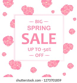Typography banner Spring sale. Sakura flowers seamless pattern. Abstract pink flowers on white background. Design element stock vector illustration for web, print