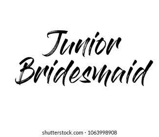 Typography brush text wedding word art graphic vector design for junior bridesmaid
