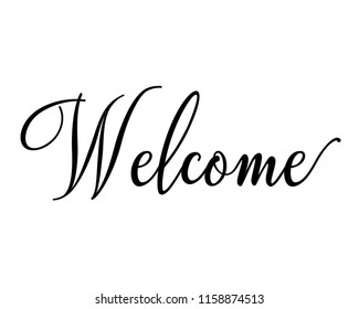 Typography calligraphy text wedding sign vector design for welcome