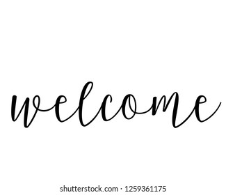 Typography calligraphy text word art design vector for welcome