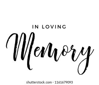 Typography calligraphy wedding memorial sign design vector graphic featuring in loving memory
