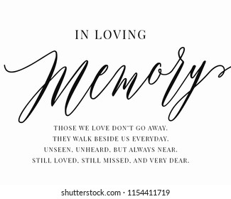 Typography calligraphy wedding sign vector graphic template for in loving memory remembrance