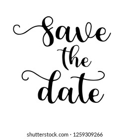 Typography calligraphy wedding word art design vector graphic for save the date phrase