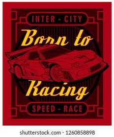 typography car graphic,vector design illustration