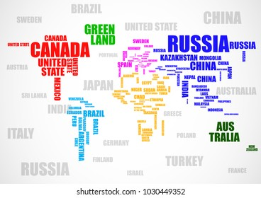 World map countries color wordcloud vector de stock70697761 typography colorful world map with country names vector gumiabroncs Images