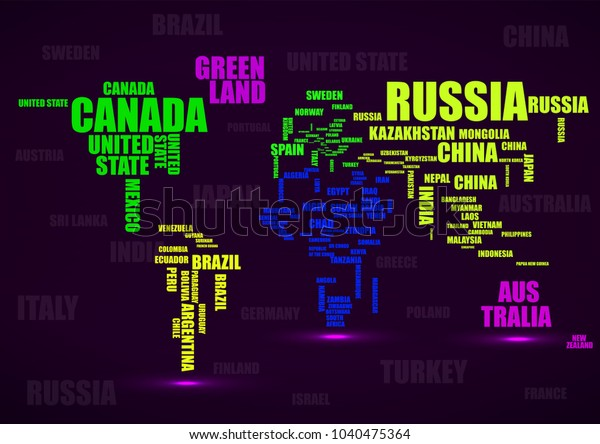 Typography Colorful World Map Country Names Stock Image ...