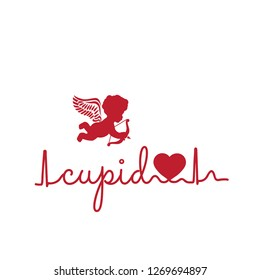 typography: cupid word and illustration