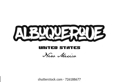 Typography design of albuquerque new mexico city text word in the United States of America graffitti style logo