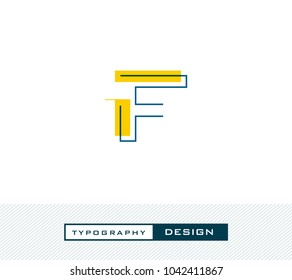 Typography Design Alphabet F, Letter F cut style logo icon vector template.