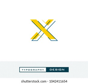 Typography Design Alphabet X,  Letter X cut style logo icon vector template.